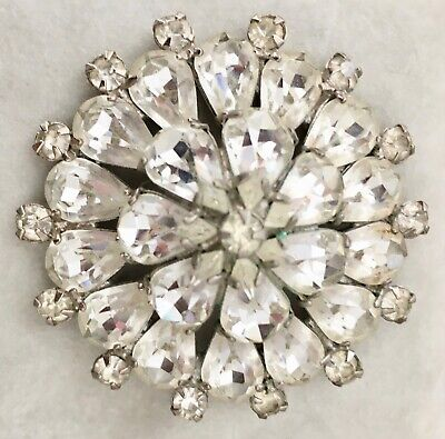 """Vintage Signed Weiss Large 2"""" Rhinestone Brooch Layered Prong Set Stones"""