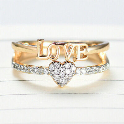 Chic Love Heart Crystal Sapphire Silver Gold Plated Women Lady Engagement Ring