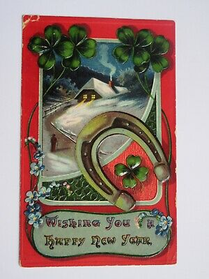 1909 Vintage New Year's Postcard With Horseshoe Covers and Pretty Scene