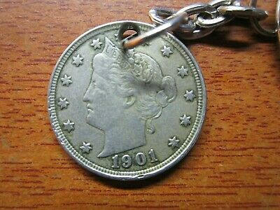 1901 American Five Cents 5 Cent Coin USA Key chain 118 Years old