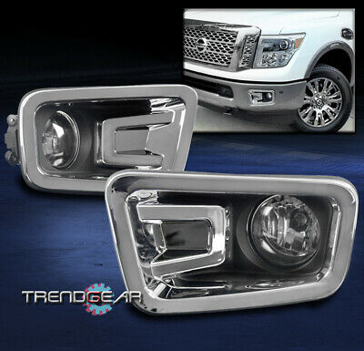 Bumper Driving Fog Lights Lamp Chrome Clear Lens W/Switch For 16-17 Titan Pickup