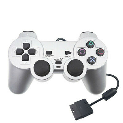 Wired dual shock game controller for Playstation 2 PS2 gamepad joypad black