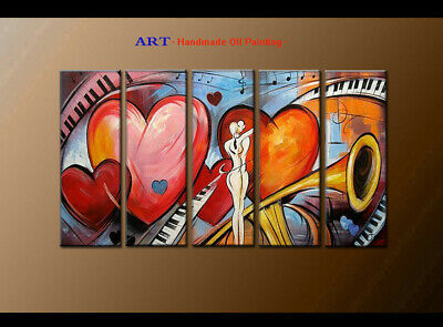 Large MODERN ABSTRACT OIL PAINTING Canvas musical Art Wall Decor Framed FQ4047