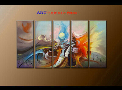 Large MODERN ABSTRACT OIL PAINTING Canvas musical Art Wall Decor Framed FQ4049
