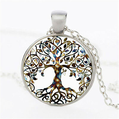 Boho Gemstones Tree of Life Reiki Chakra Round Pendant for Necklace Gift GG