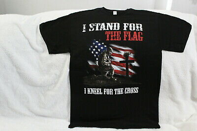 Soldier I Stand For The Flag Kneel For The Cross American Flag T-Shirt