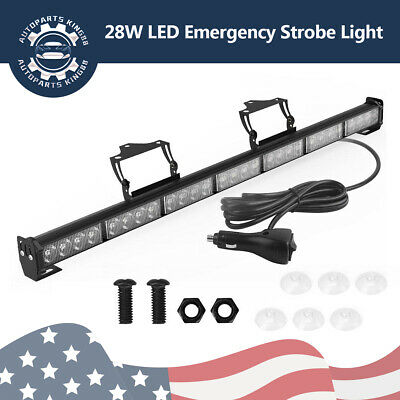 "31"" 28W LED Emergency Safety Strobe Light Bar Traffic Advisor Amber/White 12-24V"