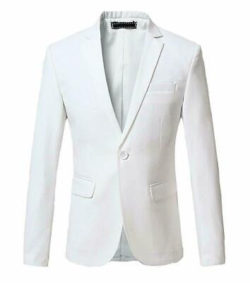 White Men's Suit Jacket Formal Wedding Groom Notch Lapel Stylish Slim Fit Custom