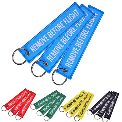 Fashion Unisex Remove Before Flight Car Motorcycle Keychain Embroidery Souvenirs
