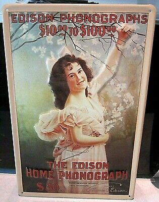 """THE EDISON HOME PHONOGRAPH girl, EMBOSSED(3D)VINTAGE-STYLE SIGN,12""""x 8"""" 30x20cm"""