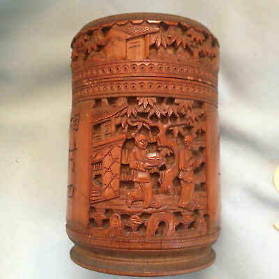 Antique Chinese Carved Bamboo Pot & Gaming Tokens