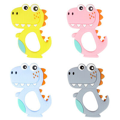 Baby Teether Silicone Teething Toy Ring Soother Chew Toys Cartoon BPA Free DIY