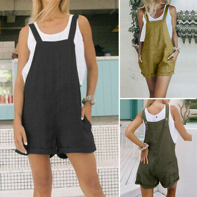 ZANZEA 8-24 Women Strappy Loose Plus Size Romper Jumpsuit Playsuit Bib Overalls