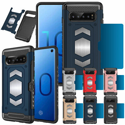 Shockproof Armor Hybrid Card Holder Case Cover For Samsung Galaxy S10e S10 Plus