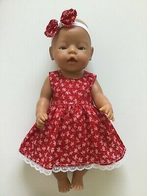 """DOLLS CLOTHES FOR 17"""" BABY BORN~CABBAGE PATCH *Red ~Dress~Headband*"""