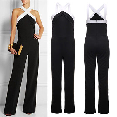 Women Ladies Jumpsuit Sleeveless Halter Flared Evening Party Playsuit Long Pants