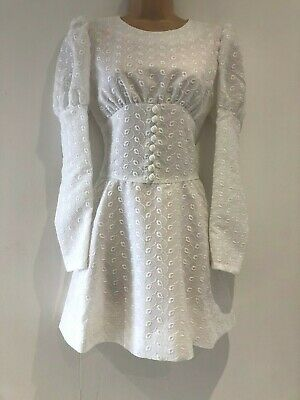 Vintage 60's Mod Dolly Pretty White Embroidered Long Sleeve Mini Dress Size 8