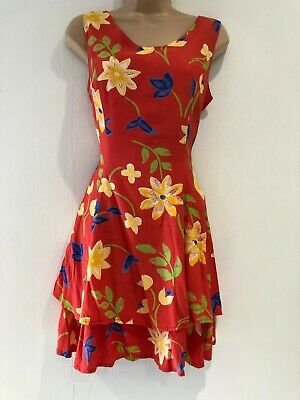 Vintage 90's Red Yellow Blue Green Floral Layered Sleeveless Flared Dress 8-10