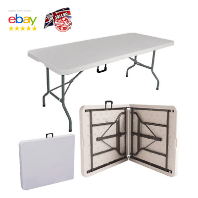 4FT Heavy Duty Folding Table Portable Plastic Camping Garden Party Trestle BBQ