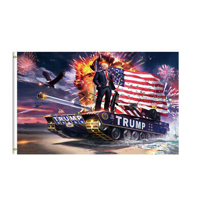 3x5ft Trump Tank Flag 2020 - Keep America Great - Elect Donald For USA President
