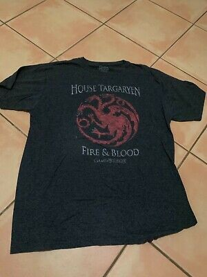 Game of Thrones House Targaryen Fire and Blood Dragon T-Shirt Size XL