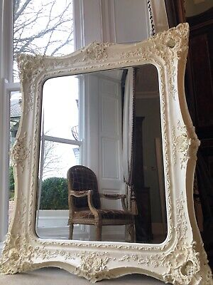 Fabulously ornate HUGE Extra Large opulent white Rococo Wall hall leaner mirror