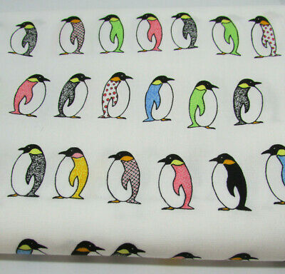 Multicoloured rainbow Penguins 100% cotton japanese fabric by Sevenberry