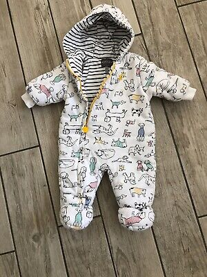 JOULES Snowsuit Pramsuit Dog Print Baby Boy 3-6 months White All In One