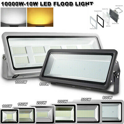 LED Flood Light 1000W 500W 300W 200W 150W 100W 50W 30W 20W 10W  Outdoor UK 220V
