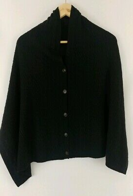 Orvis Black Wool Cashmere Buttoned Wrap Scarf Shawl Cable Knit Free Ship