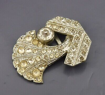 Antique Ladies Belt Buckle White Metal Intensely Studded w Clear Stones