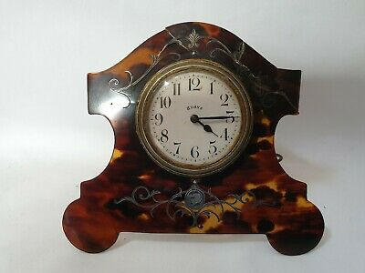 Antique Faux Tortoiseshell Inlaid 8 Day Travel Desk French Clock Watch C1900 A/F