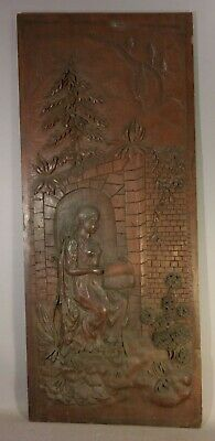 19thC Antique VICTORIAN MUSIC ROOM Panel WOOD CARVED LADY ARCHITECTURAL SALVAGE