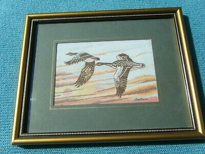 Vintage Cash's Woven Silk Picture - Greylag Geese - Still In Original Boxed