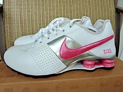 huge discount 17c13 f5c6d Nike Shox Deliver Women s LEATHER White Pink Metallic Silver Sneaker 8.5   RARE