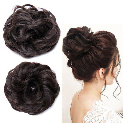 Real Natural Messy Bun Curly Wavy Hair Piece Extensions Updo Cover Dark Brown AI