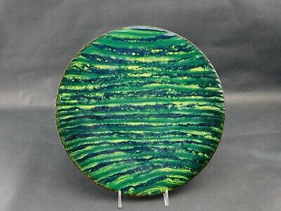 "Artist Signed TW Abstract MCM Enamel on Copper Plate 9-3/4"" Diameter"