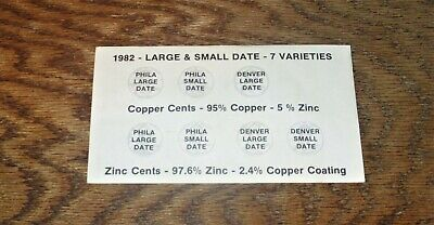 Uncirculated 1982 Large & Small Date 7 Varieties Lincoln Cents