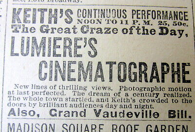 1896 NEWSPAPER 1ST movie theater exhibition of Edison's