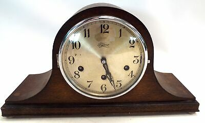 Vintage TYMO Wooden Napoleon's Hat Shaped Mantel Clock With Key - N12