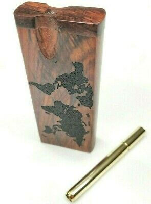 World Map Rosewood Dugout One Hitter W/ Brass One Hitter Pipe - Stash Box