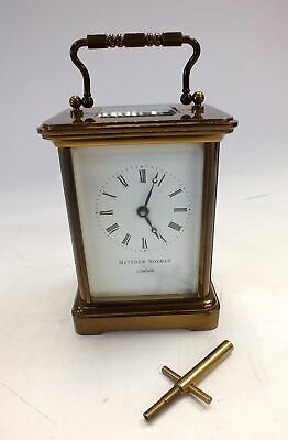 *Working* MATTHEW NORMAN LONDON Brass Mantel Clock with Original Key - W21