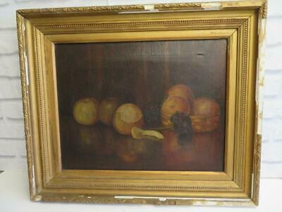 really old PAINTING antique oil canvas ORANGES still life