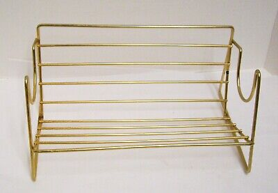 Vintage Gold Tone Metal Rack Books Records CD Holder Shelf Mid Century