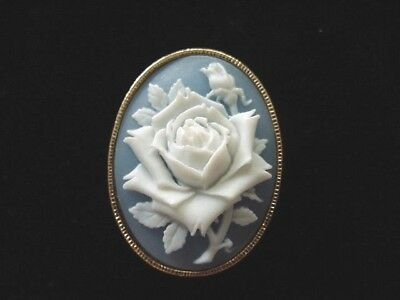 VINTAGE ~ Stunning Blue ~ ROSE Cameo SCARF Ring Holder Brooch, Marked AVON
