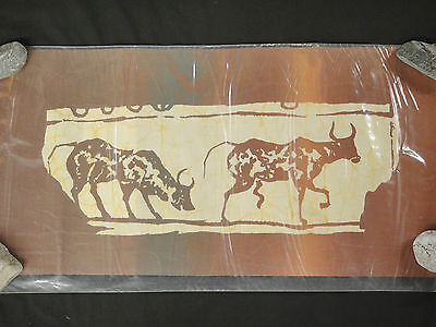 Asian Batik Fabric Art 15 x 30 Chinese Oxen Brown and Yellow New Taiwan