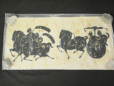 Asian Batik Fabric Art 16x32 Ancient Chinese Warriors on Horseback and Chariot