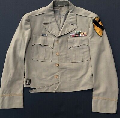 WWII US Army 1st Cavalry Division Ike Jacket Khaki Uniform TailorMade Wolf Brown