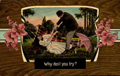 Postcard Romance Why Don't You Try? 1910 Postmark