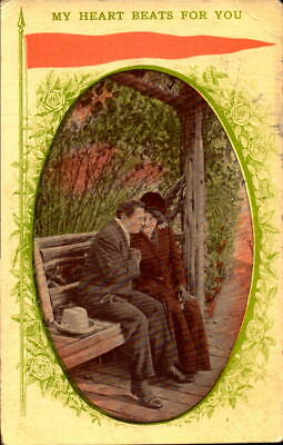 Postcard Romance My Heart Beats for You 1910 Postmark
